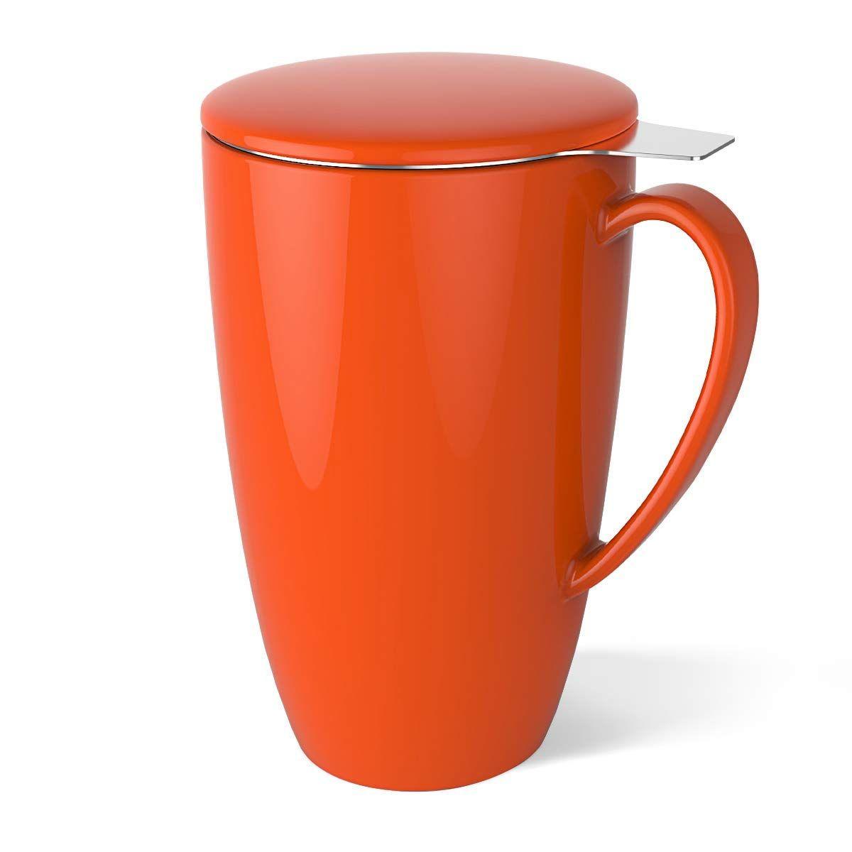 Taza Sweese de cerámica/porcelana con tapa y filtro para té, de acero inoxidable