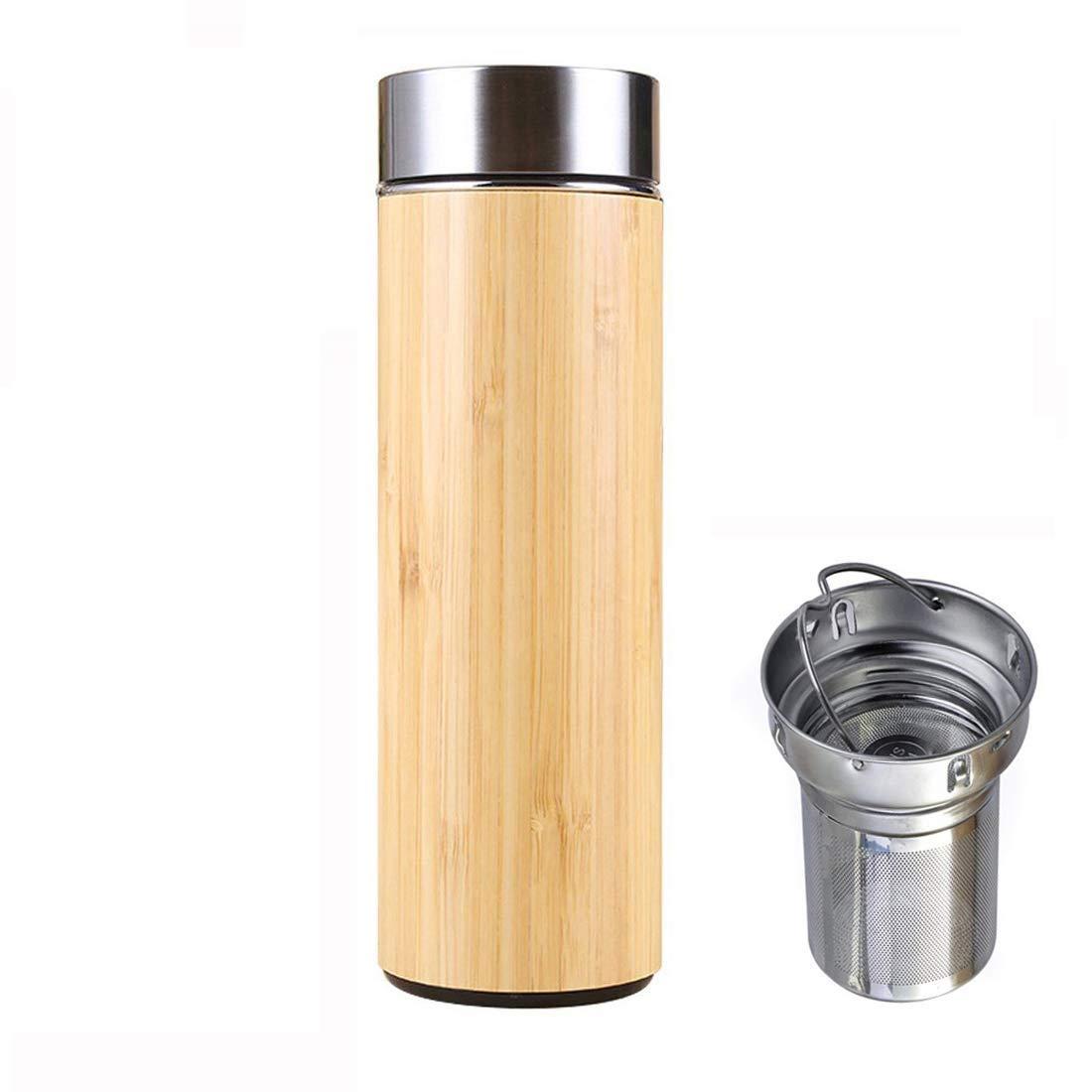 Botella Termica Té Acero Inoxidable Infusor Taza Viaje Termica Café Bambú