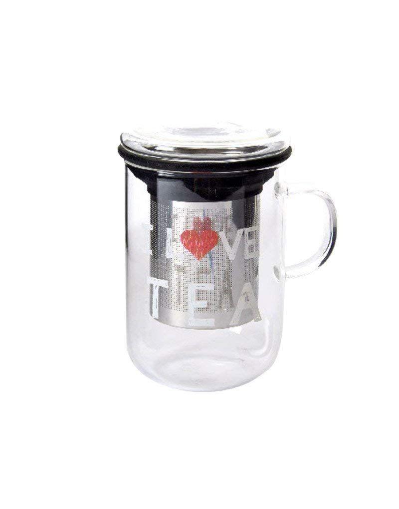 Taza para infusiones Transparente con Filtro diseño Moderno Love