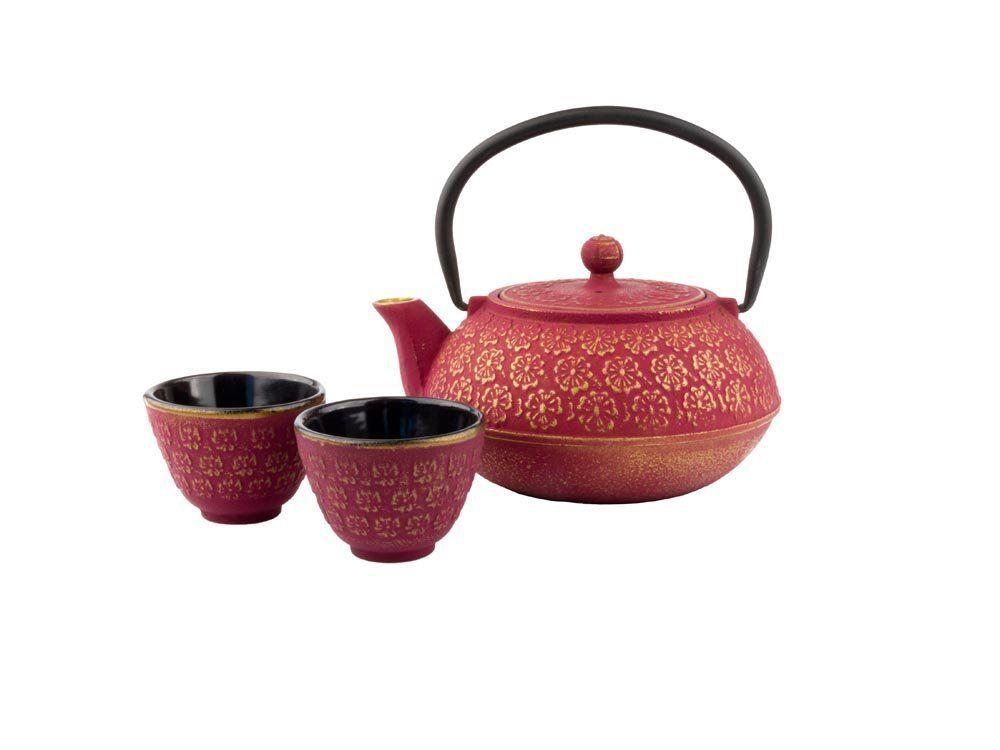 Tetera, 2 Tazas, 1 Filtro de té, Hierro Fundido, Rojo
