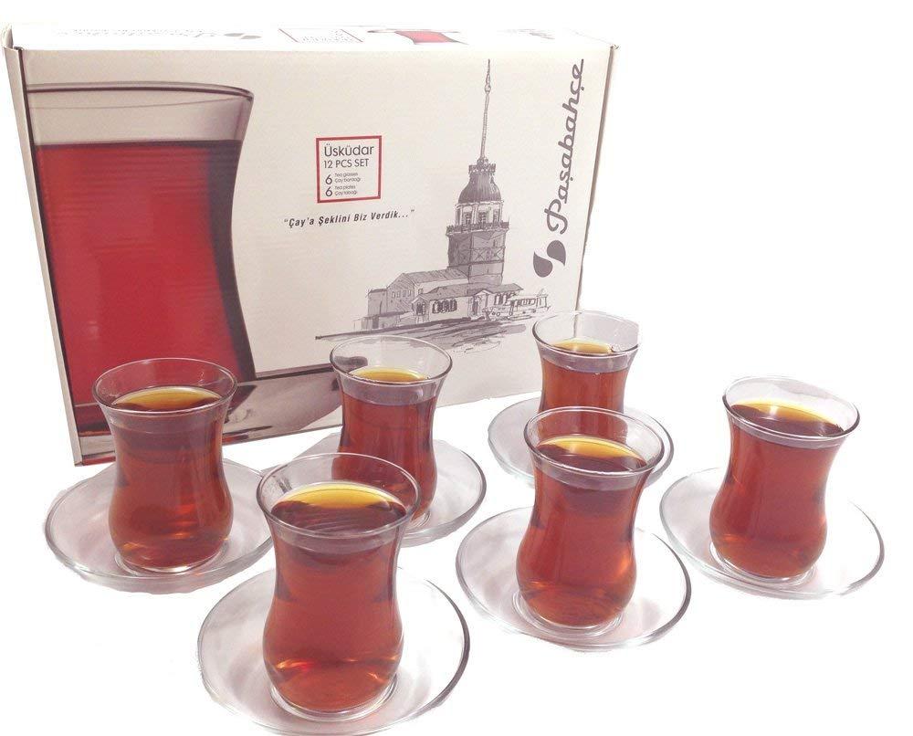 Juego de vasos y platillos de té turco – Diseño Pasabahce (12 piezas)