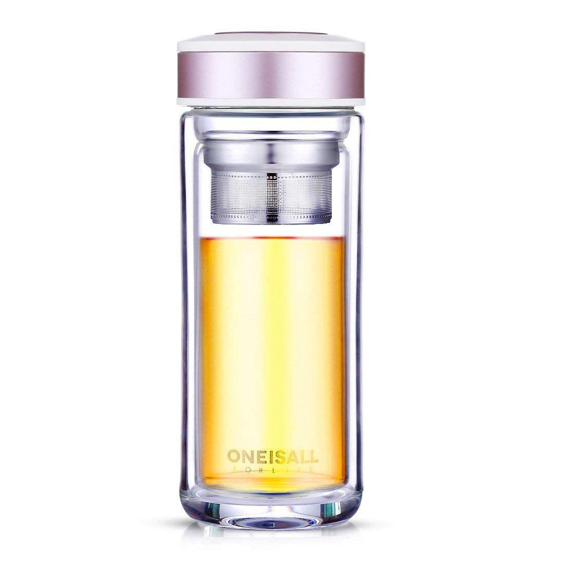 Botella de cristal, vaso de doble pared con infusor de té, tipo termo con filtro