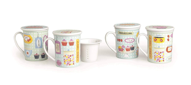 Excelsa – Taza para infusiones con Filtro y Tapa Sweet, Porcelana, Multicolor