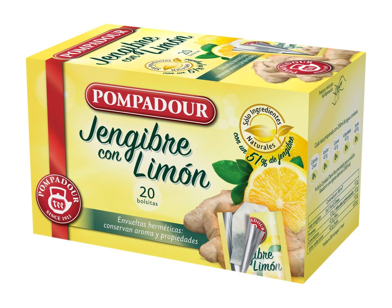 Pompadour Té Infusion Jengibre con Limón 20 bolsitas – Pack de 2 (Total 40 bolsitas)