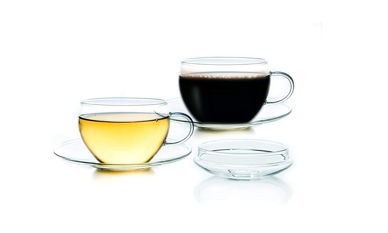 Taza Juego de 2 200 ml de té taza de cristal, 2 unidades, 10 x 10 x 8 cm