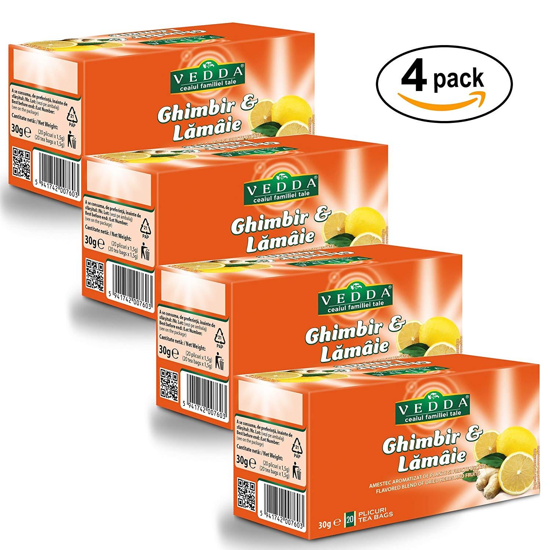 Té de Jengibre y Limón (Paquete de 4, Total 80 Bolsas de Té)