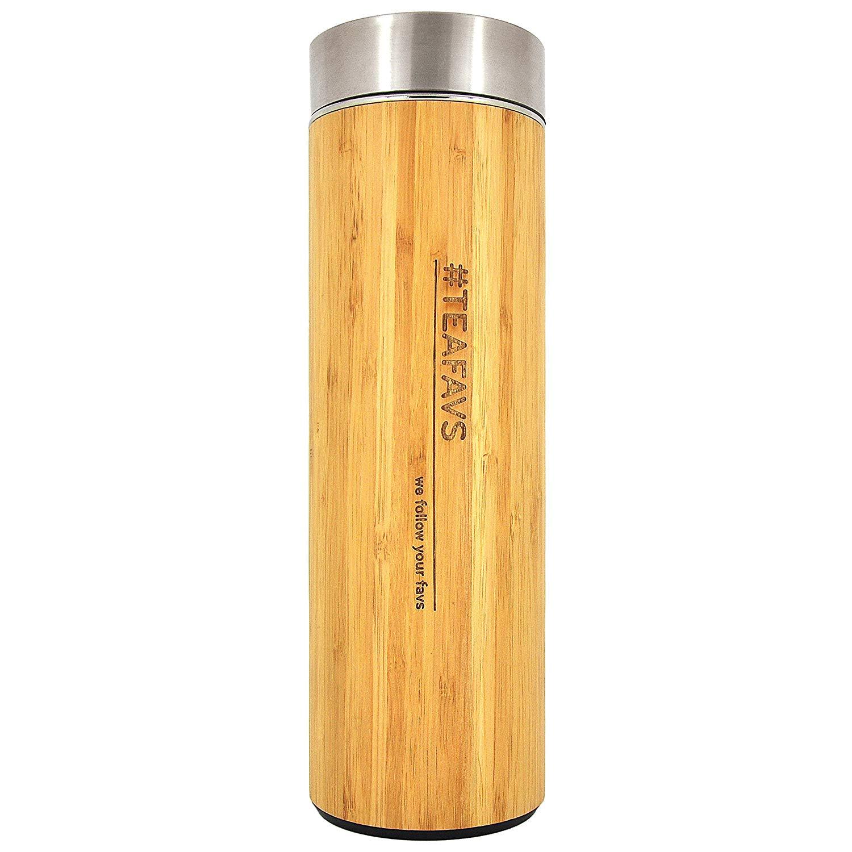 Taza térmica de Acero Inoxidable de Doble Pared de 500 ML, bambú para té y café