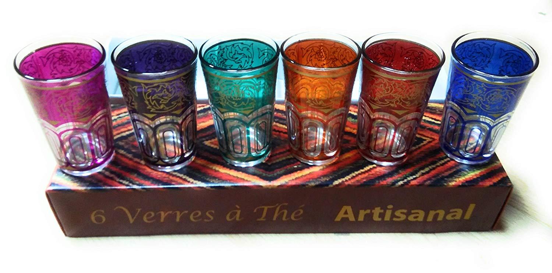 Juego de 6 vasos de té marroquí con revestimiento de oro- color Verde – Altura 9 cm