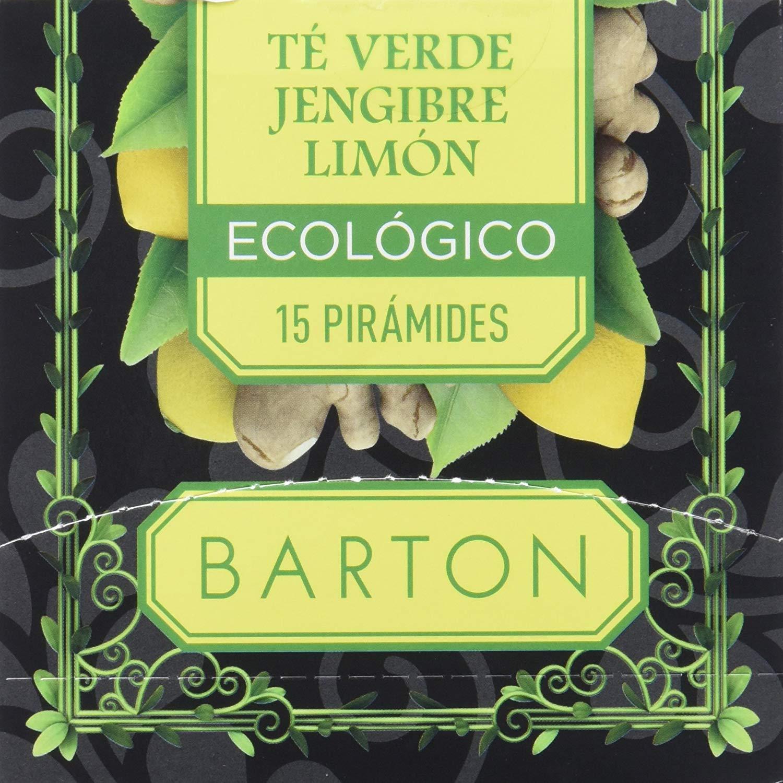 Barton Infusión Ecológica de Té Verde, Jengibre y Limón – 1 Paquete de 30 gr (15 x 2 g)