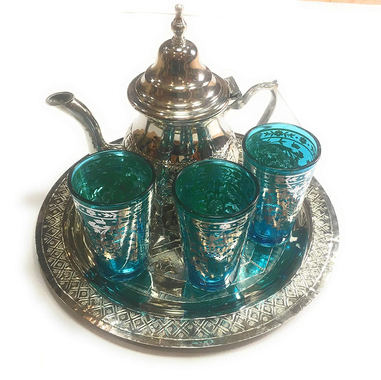 Juego de te arabe 3 vasos de cristal,1 tetera, 1 bandeja