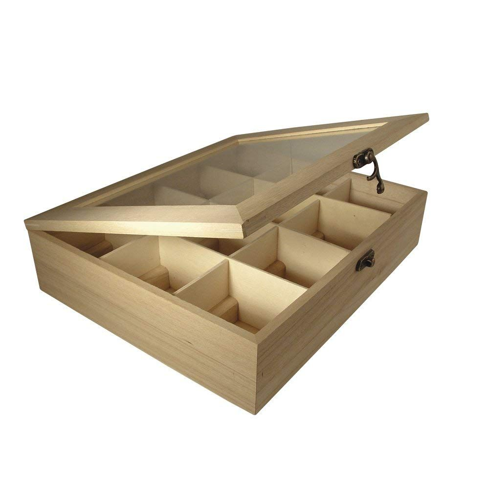 Rayher – Caja de Madera para bolsitas de té, 12 Compartimentos