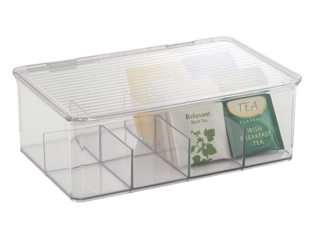 Caja para bolsas de té con tapa abatible para proteger el contenido
