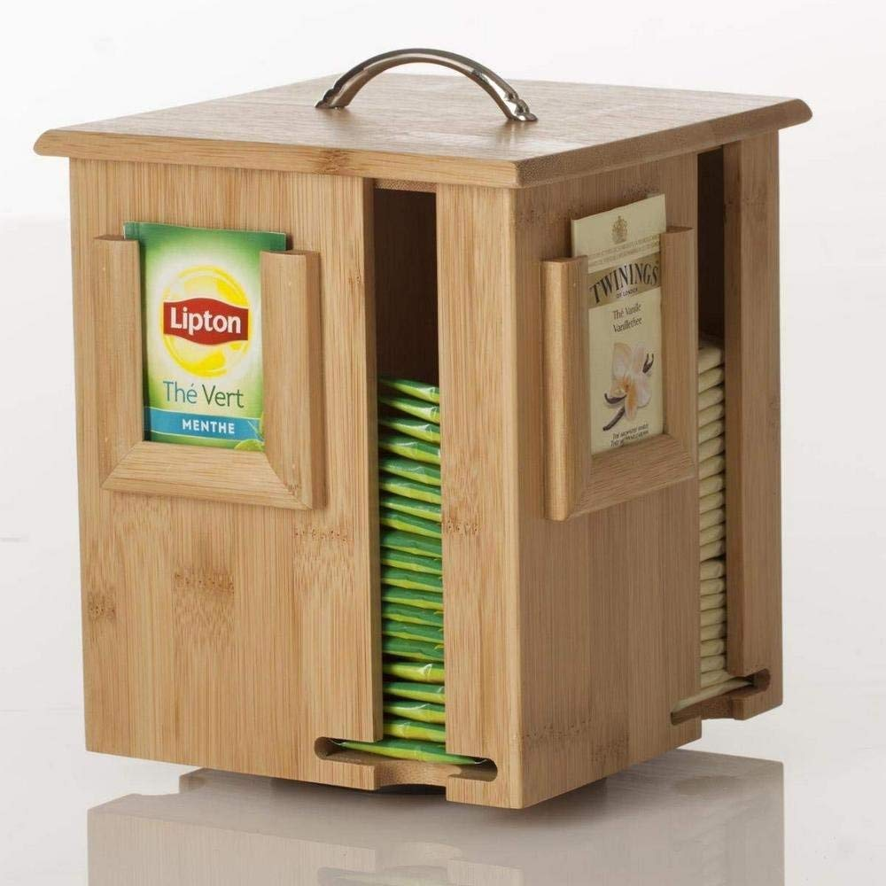 Distribuidor y Mostrador de bolsas de té soporte rotativo – De Bambú