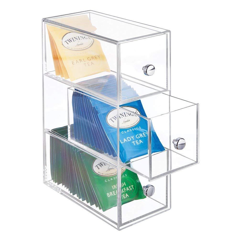 Minicajonera con 3 cajones de plástico para infusiones y bolsitas de té