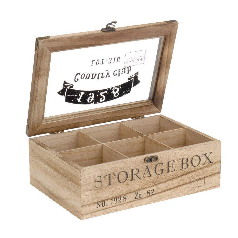 Caja para té de madera en estilo rústico con 6 o 9 compartimentos