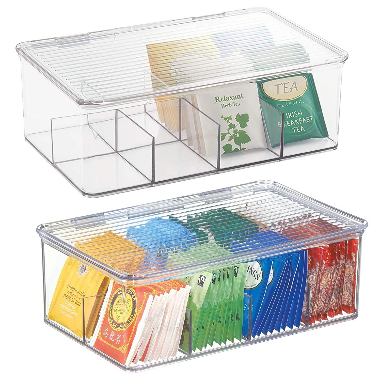 Práctica caja para guardar infusiones y bolsas de té