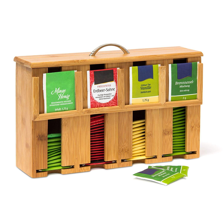 Relaxdays Caja para Bolsitas de Té, Bambú, Natural, 22 x 33,5 x 10 cm