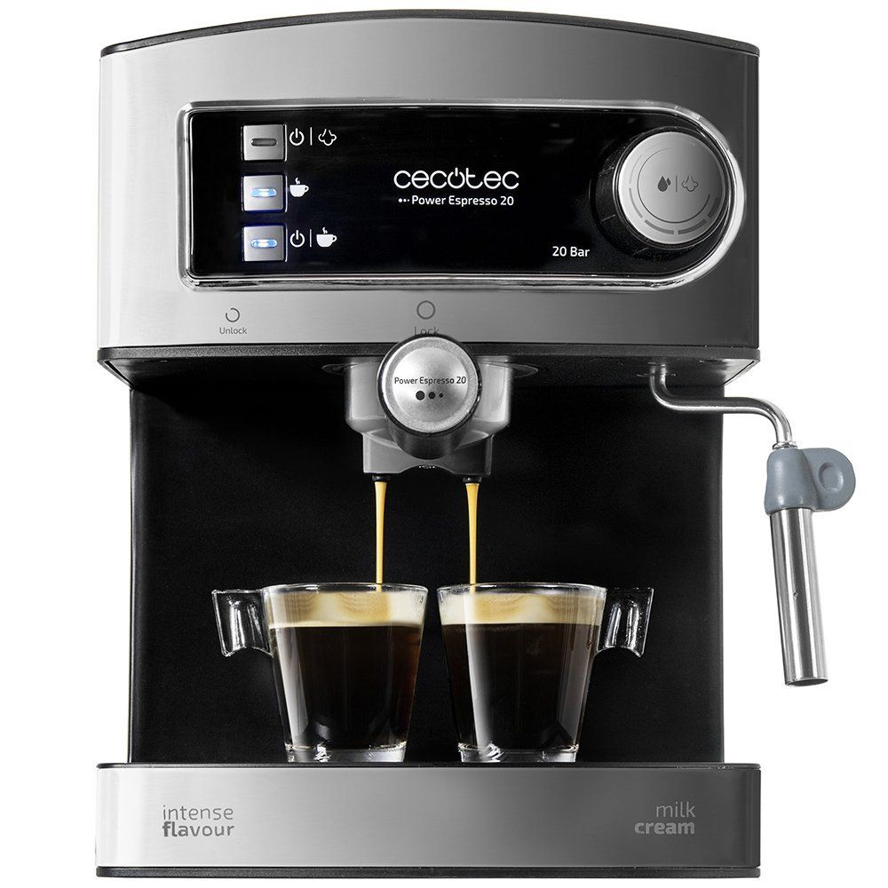 Cecotec Power Espresso Cafetera presión 20 Bares, Inoxidable, depósito 1,5 litros