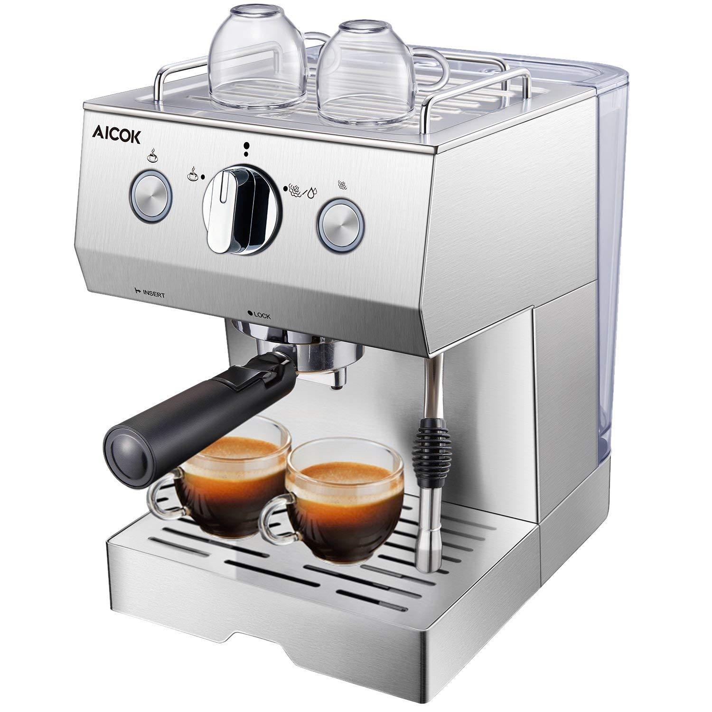 Aicok Cafetera Espresso 15 Bares, Cafetera Cappuccino y Latte, Boquilla de Espuma de Leche Profesional | 1.5 L