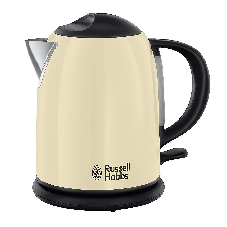 Russell Hobbs Colours Cream – Hervidor de agua compacto, 1L, resistencia oculta, 2200 W, acero inoxidable color crema