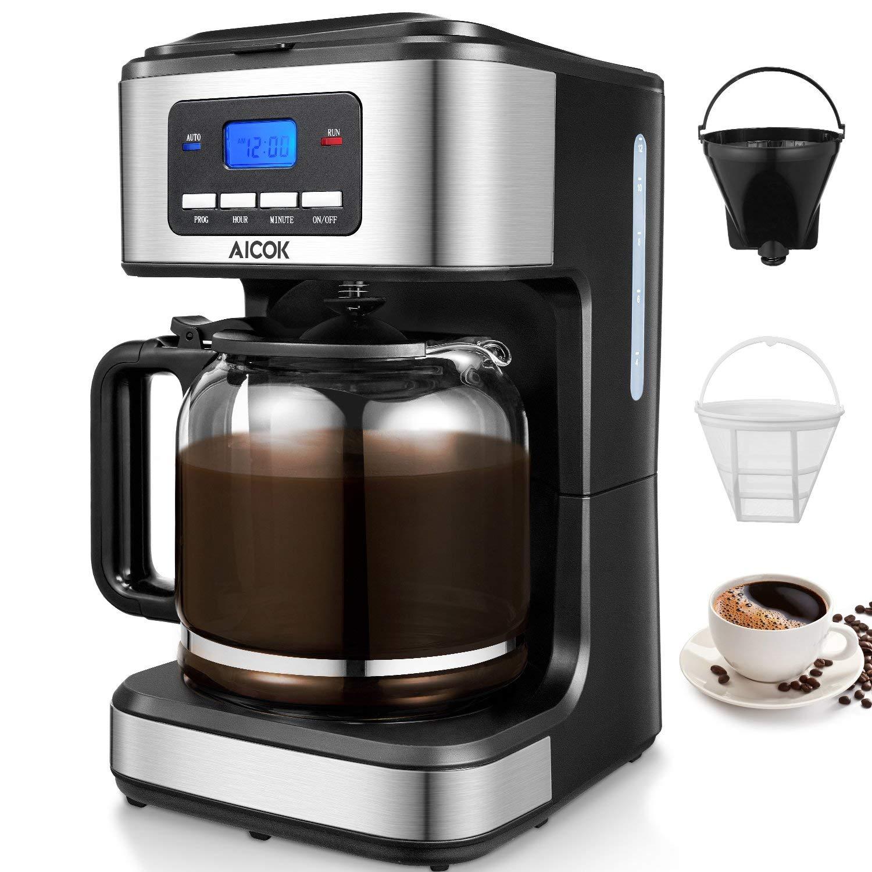 Cafetera Goteo Programable, Cafetera Goteo Filtro Permanente, Jarra de Vidrio, 1.5 Litros, 12 Tazas, 900W, Negro