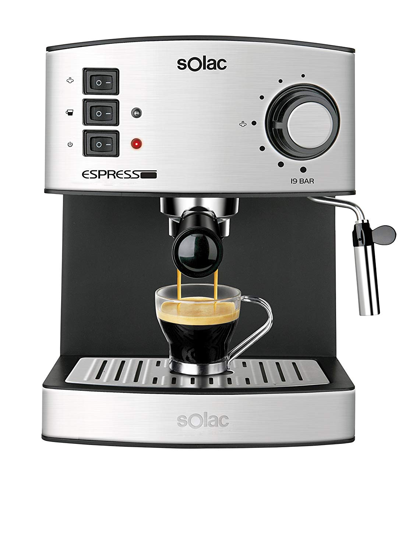 Solac CE4480 Espresso-Cafetera (Capacidad, 19 Bares, 1,25 litros,vaporizador)