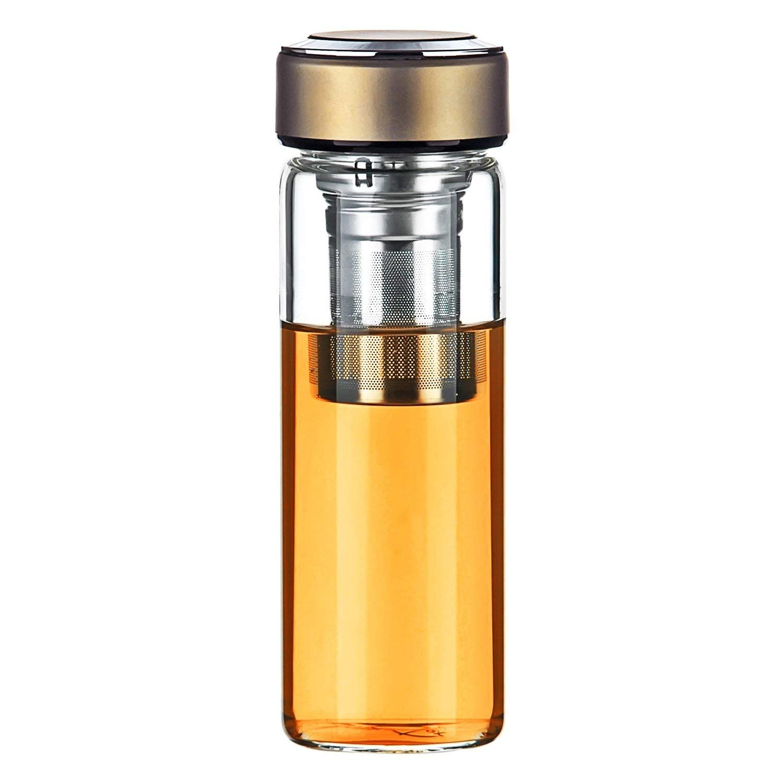 Justfwater Deportes Botella de Cristal de Vidrio con Infusor , Filtro Colador para Té, Funda