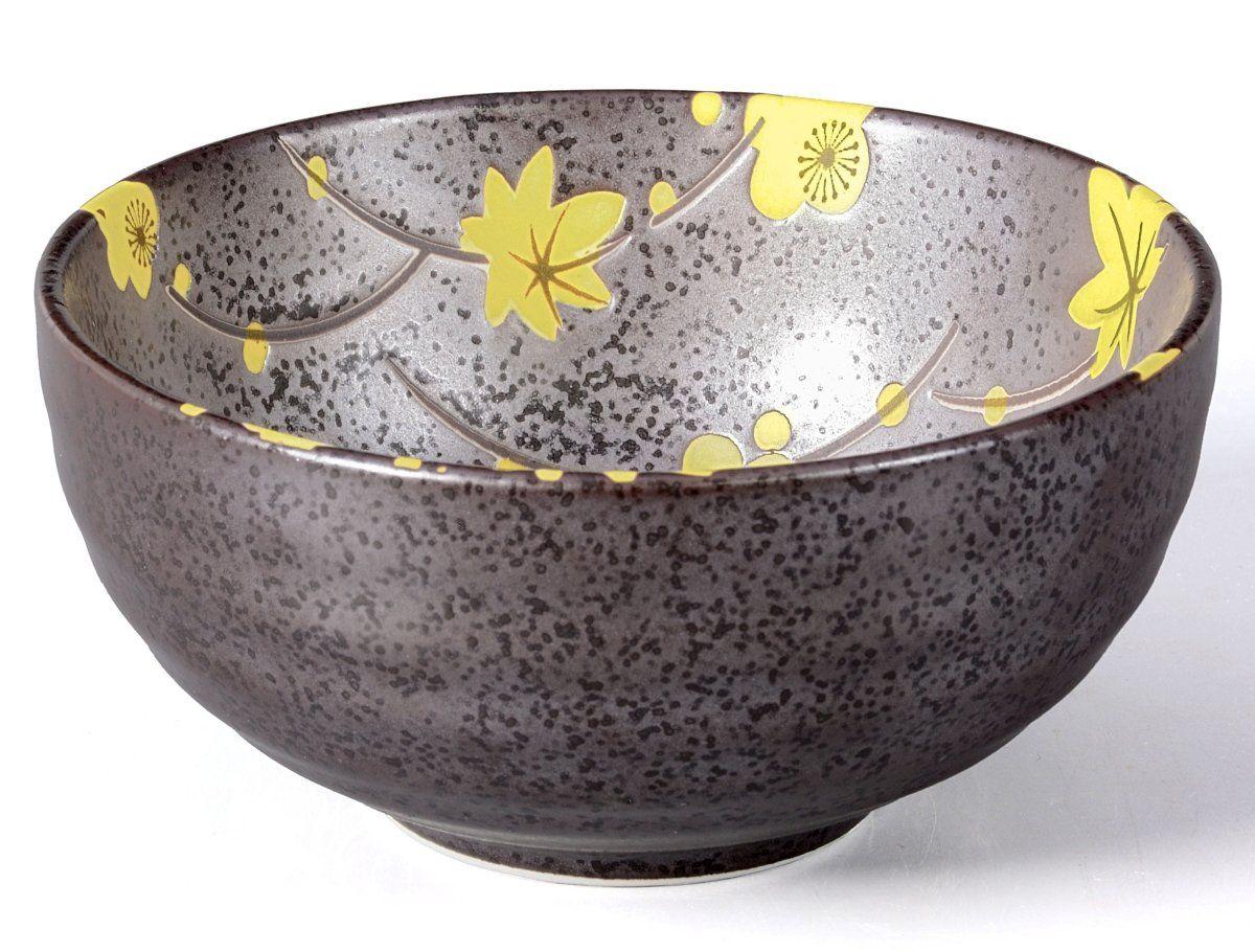 Cuenco/Té Matcha – Bol 300 ml Antracita/amarillo, diseño de flores, agujereada Original Aricola®