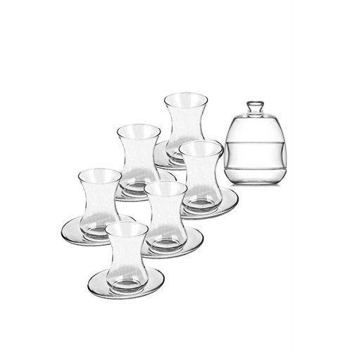 Juego de té turco de 13 piezas con vasos de té de cristal y platos de alta calidad, oriental