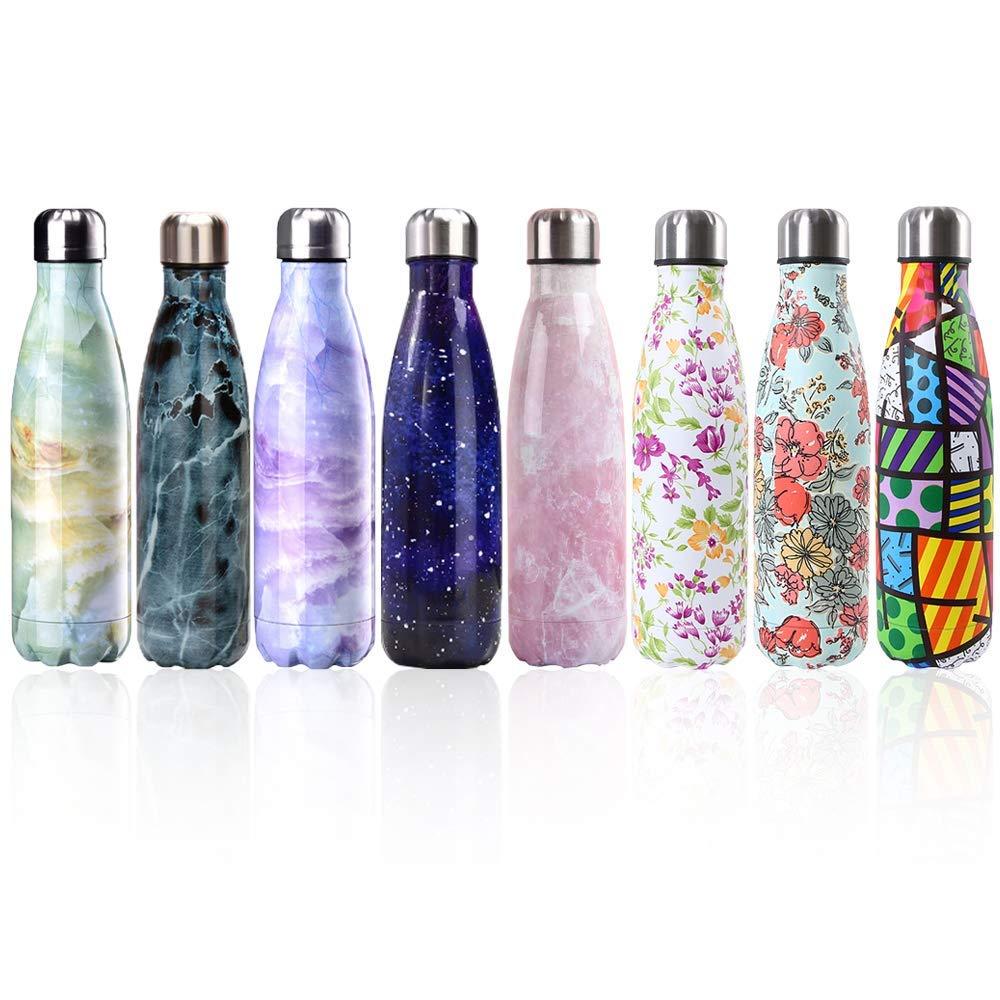 Newday1 Botella de Agua de Mantiene bebidas frías por 24h y calientes por 12h 500ML de doble pared con aislamiento