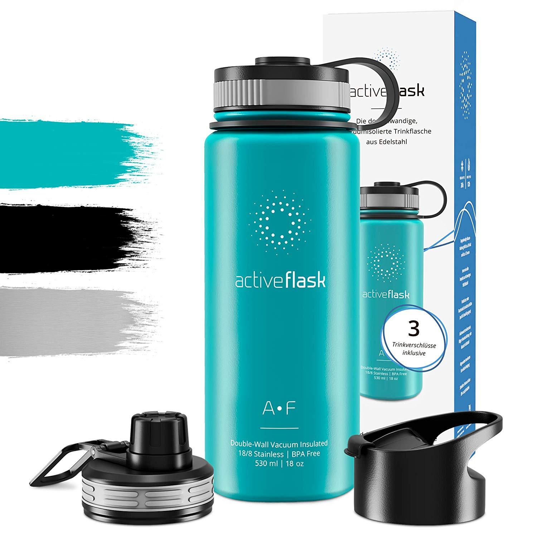 Botella térmica ACTIVE FLASK con 3 tapones para oficina, bicicleta, gimnasio | Termo práctico, resistente, seguro